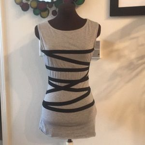 Alythea Casual Grey with Vertical Black Stripes